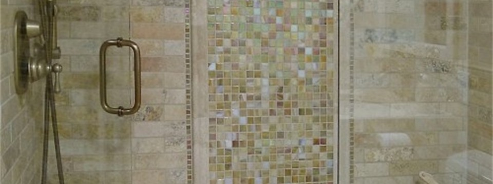 bathroom shower glass tile and subway travertine